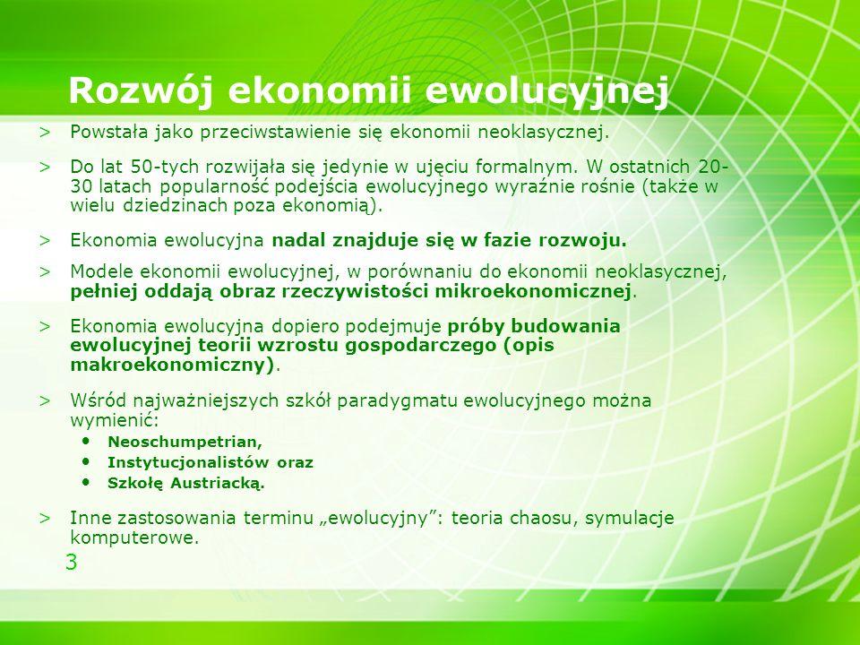 Rozwój ekonomii ewolucyjnej