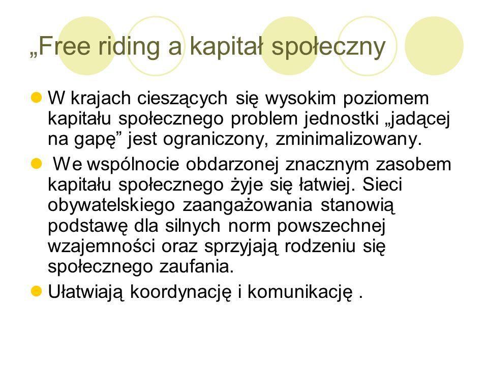 """""""Free riding a kapitał społeczny"""