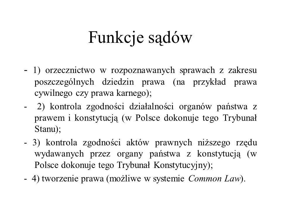 Funkcje sądów - 1) orzecznictwo w rozpoznawanych sprawach z zakresu poszczególnych dziedzin prawa (na przykład prawa cywilnego czy prawa karnego);