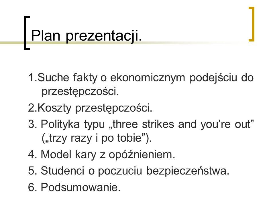 Plan prezentacji.1.Suche fakty o ekonomicznym podejściu do przestępczości. 2.Koszty przestępczości.
