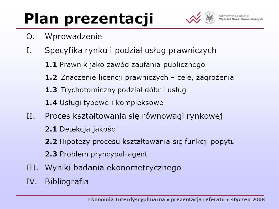 Plan prezentacji O. Wprowadzenie