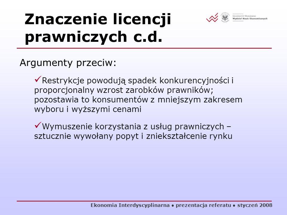Znaczenie licencji prawniczych c.d.