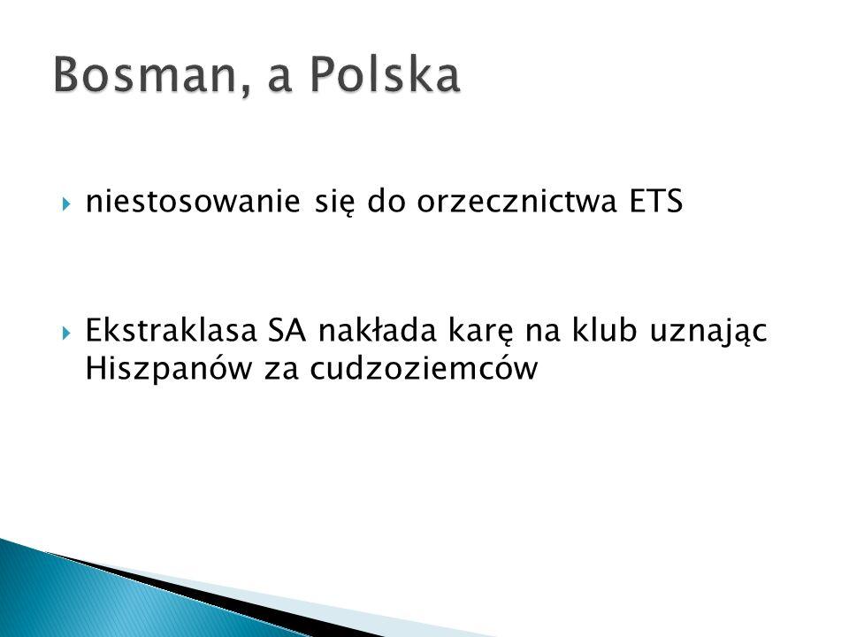 Bosman, a Polska niestosowanie się do orzecznictwa ETS