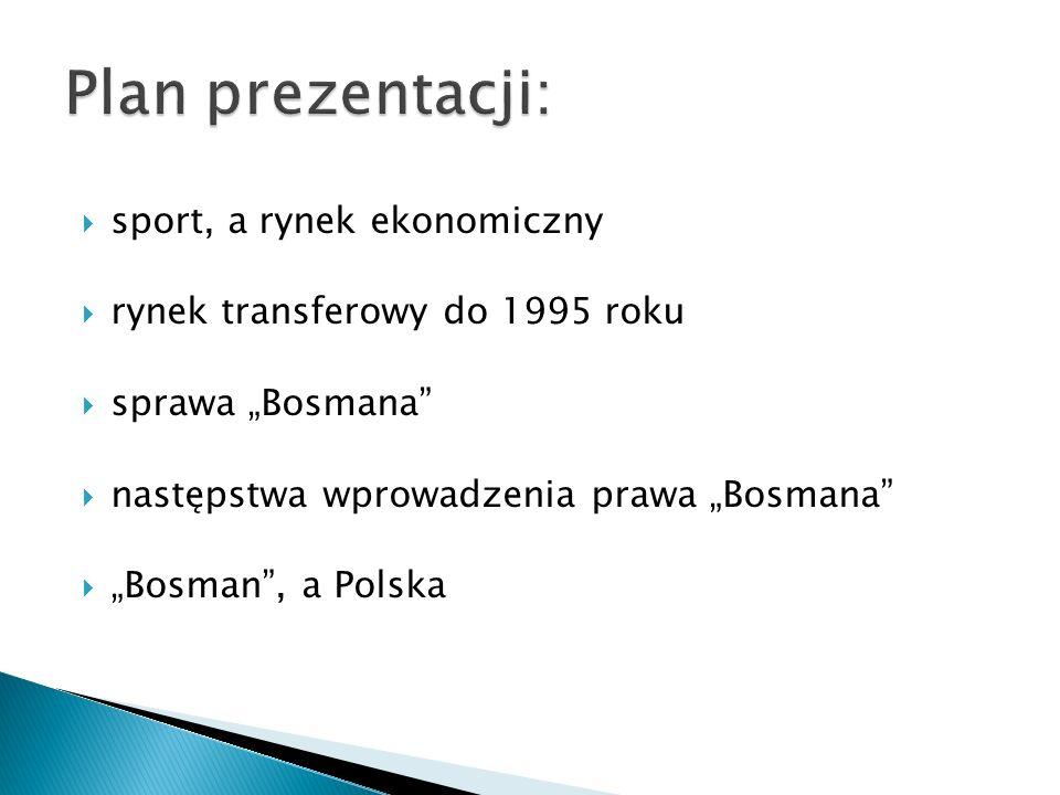Plan prezentacji: sport, a rynek ekonomiczny