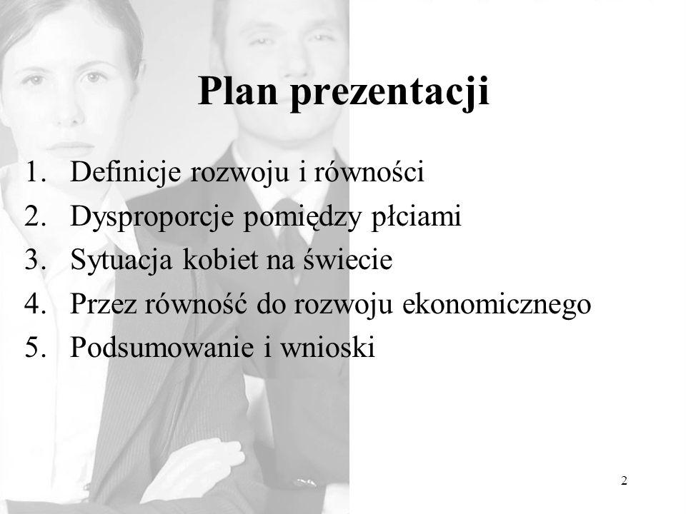 Plan prezentacji Definicje rozwoju i równości