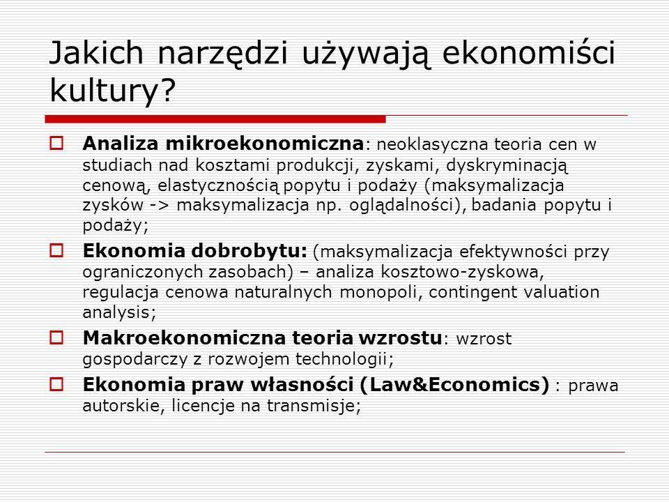 Jakich narzędzi używają ekonomiści kultury