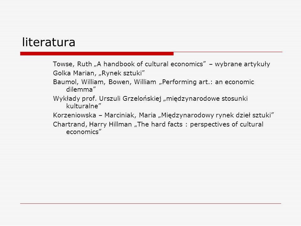 """literatura Towse, Ruth """"A handbook of cultural economics – wybrane artykuły. Golka Marian, """"Rynek sztuki"""