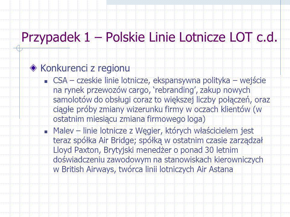 Przypadek 1 – Polskie Linie Lotnicze LOT c.d.
