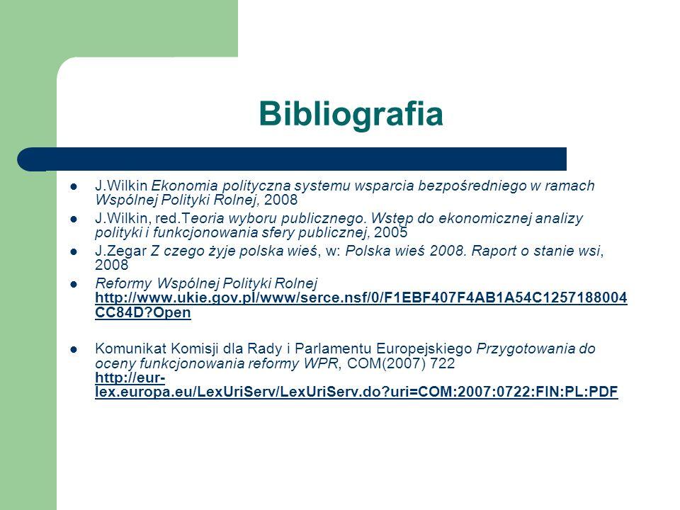 Bibliografia J.Wilkin Ekonomia polityczna systemu wsparcia bezpośredniego w ramach Wspólnej Polityki Rolnej, 2008.