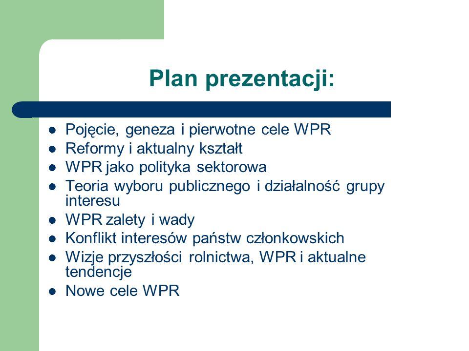 Plan prezentacji: Pojęcie, geneza i pierwotne cele WPR