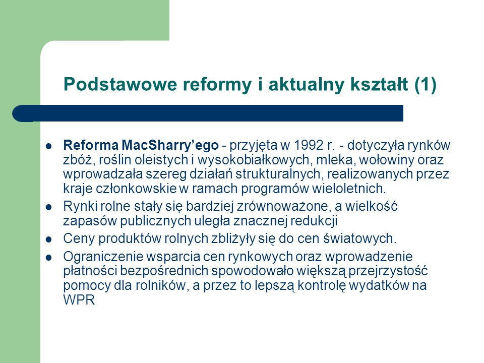 Podstawowe reformy i aktualny kształt (1)