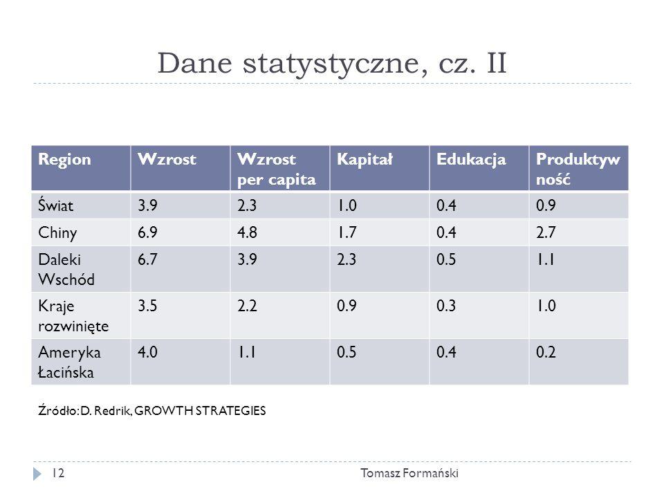 Dane statystyczne, cz. II