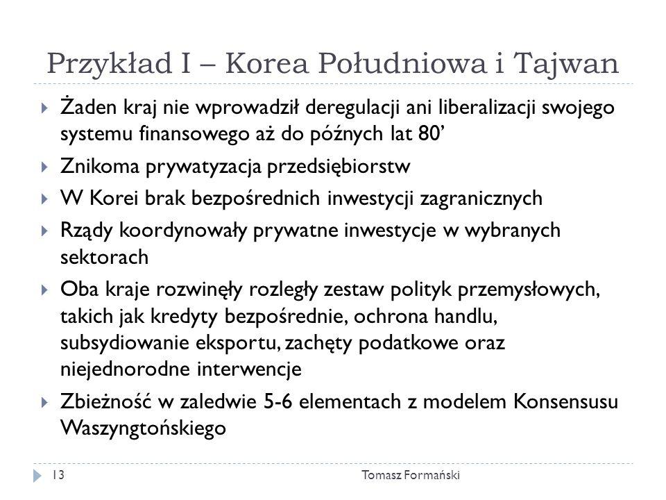 Przykład I – Korea Południowa i Tajwan