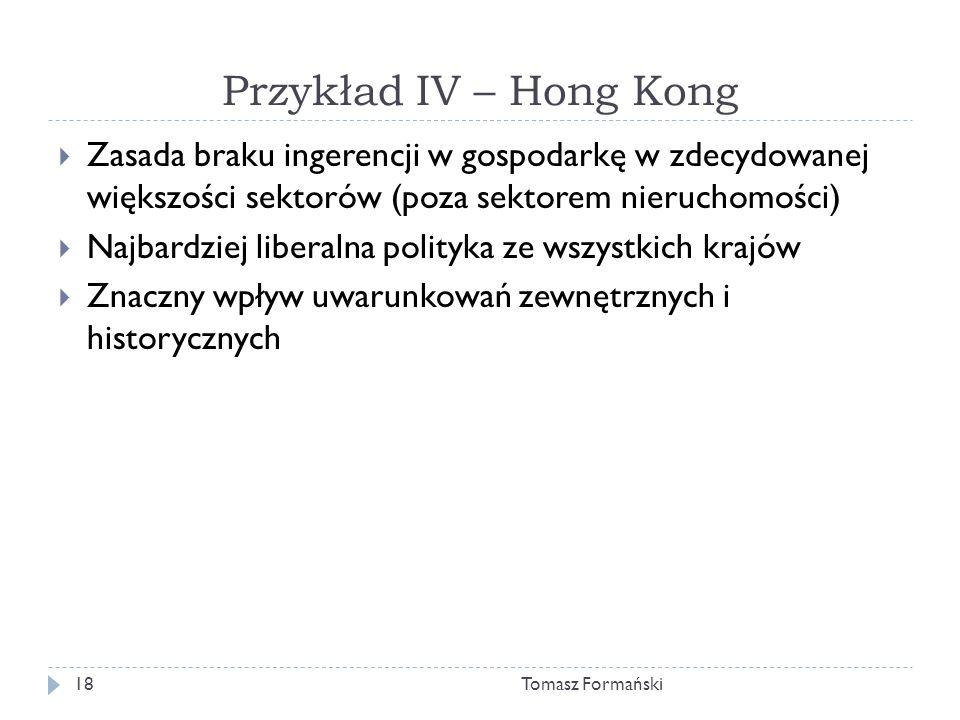 Przykład IV – Hong Kong Zasada braku ingerencji w gospodarkę w zdecydowanej większości sektorów (poza sektorem nieruchomości)