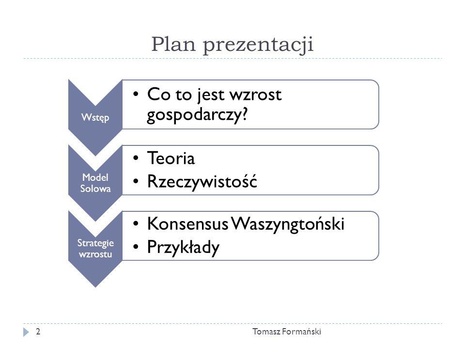 Plan prezentacji Tomasz Formański Wstęp Co to jest wzrost gospodarczy