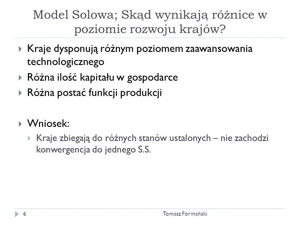 Model Solowa; Skąd wynikają różnice w poziomie rozwoju krajów