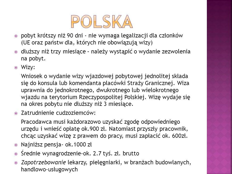 polska pobyt krótszy niż 90 dni - nie wymaga legalizacji dla członków (UE oraz państw dla, których nie obowiązują wizy)