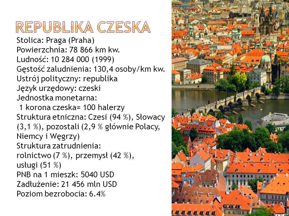 REPUBLIKA CZESKA Stolica: Praga (Praha) Powierzchnia: 78 866 km kw.