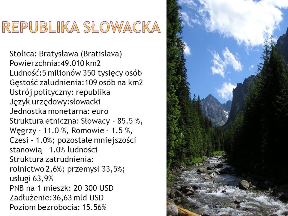 REPUBLIKA SŁOWACKA Stolica: Bratysława (Bratislava)
