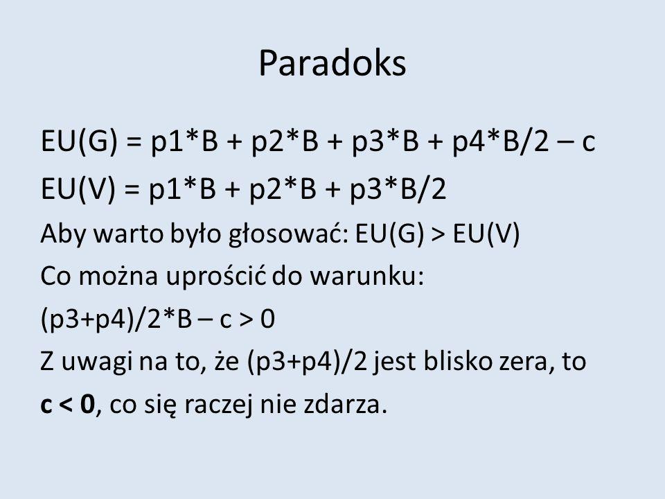 Paradoks EU(G) = p1*B + p2*B + p3*B + p4*B/2 – c