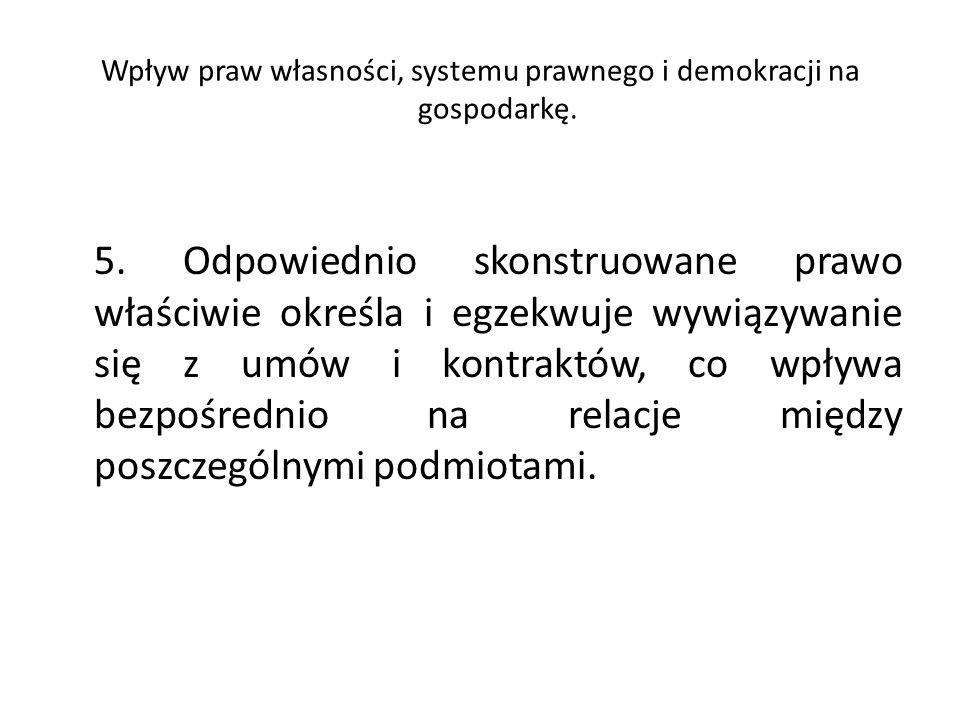 Wpływ praw własności, systemu prawnego i demokracji na gospodarkę.
