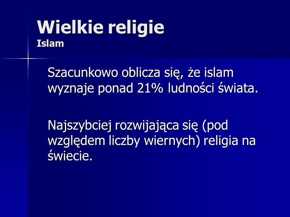 Wielkie religie Islam Szacunkowo oblicza się, że islam wyznaje ponad 21% ludności świata.