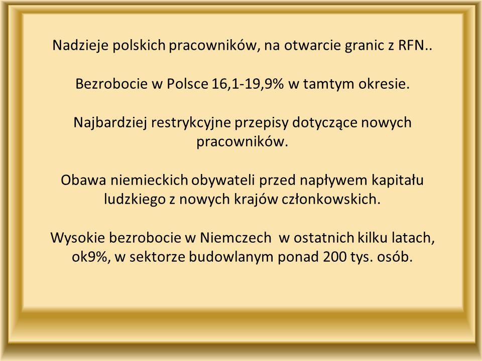 Nadzieje polskich pracowników, na otwarcie granic z RFN