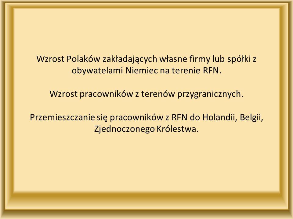 Wzrost Polaków zakładających własne firmy lub spółki z obywatelami Niemiec na terenie RFN.