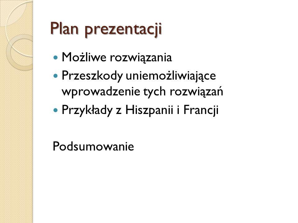 Plan prezentacji Możliwe rozwiązania