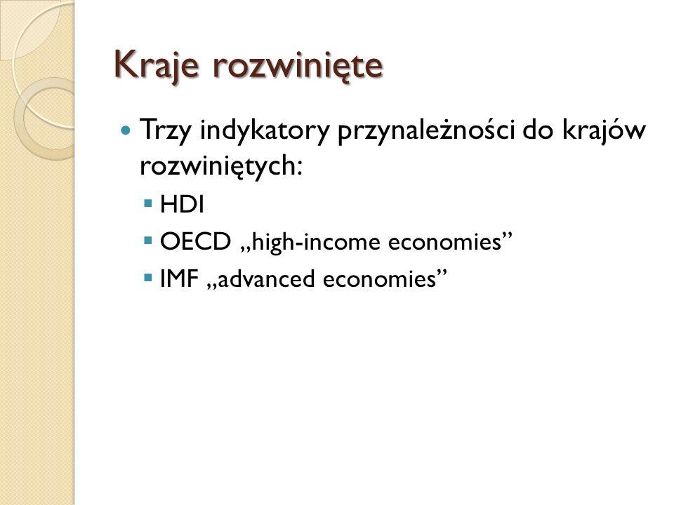 """Kraje rozwinięte Trzy indykatory przynależności do krajów rozwiniętych: HDI. OECD """"high-income economies"""