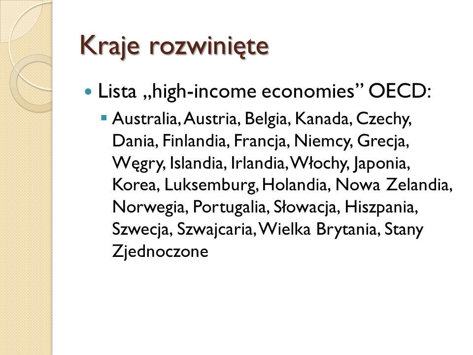 "Kraje rozwinięte Lista ""high-income economies OECD:"