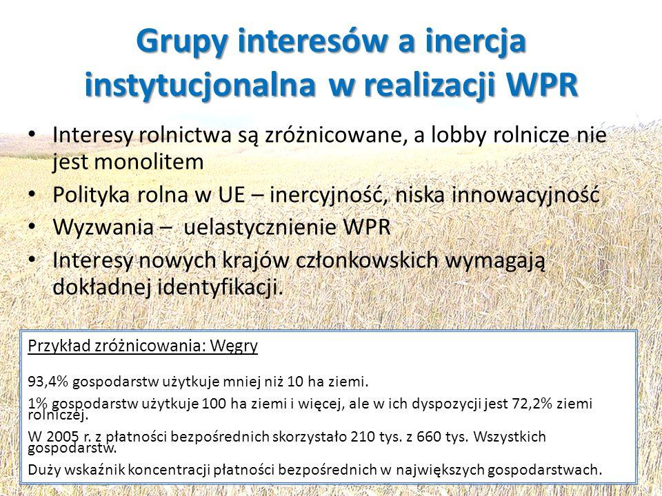 Grupy interesów a inercja instytucjonalna w realizacji WPR