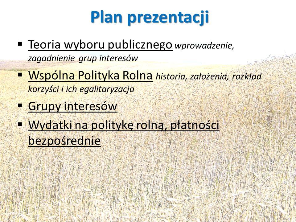 Plan prezentacji Teoria wyboru publicznego wprowadzenie, zagadnienie grup interesów.