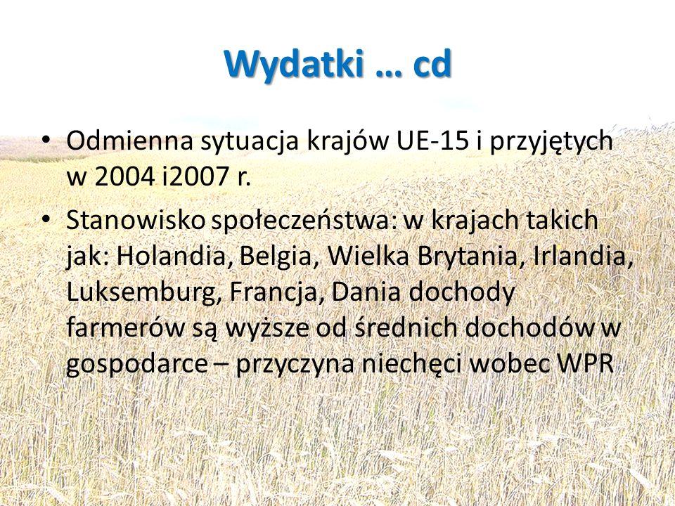 Wydatki … cd Odmienna sytuacja krajów UE-15 i przyjętych w 2004 i2007 r.