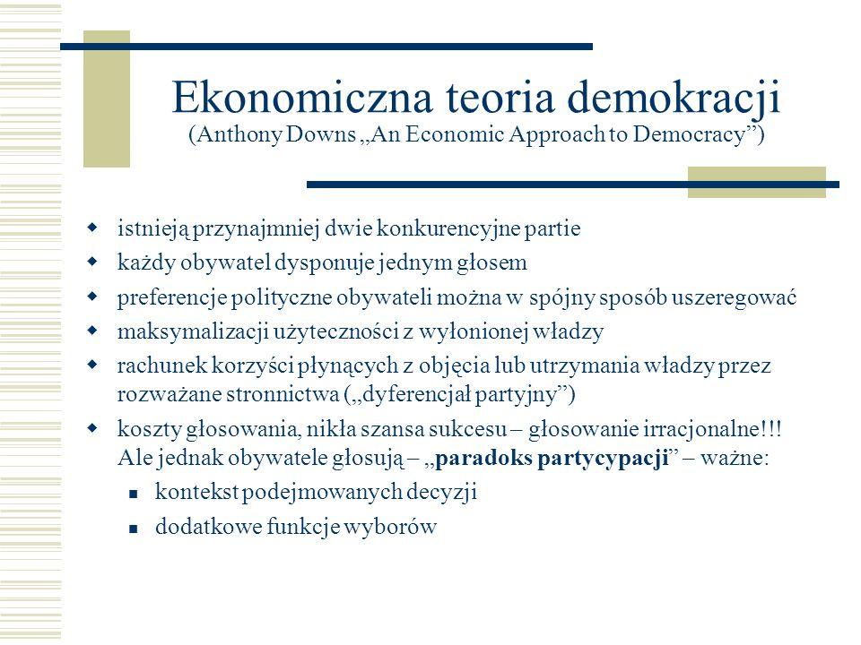 """Ekonomiczna teoria demokracji (Anthony Downs """"An Economic Approach to Democracy )"""