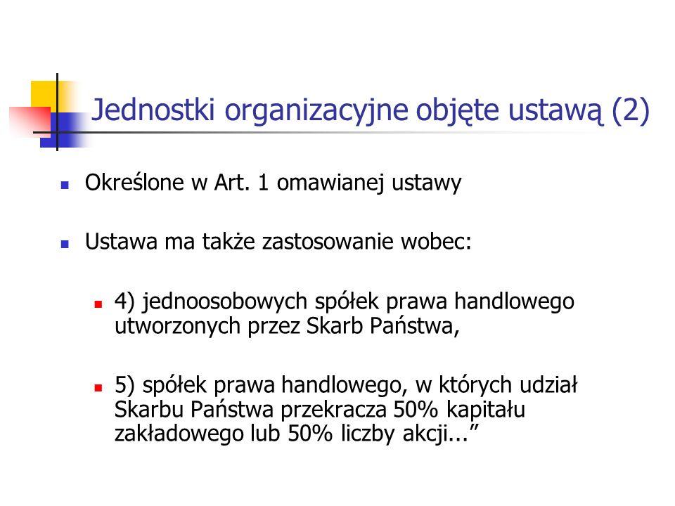 Jednostki organizacyjne objęte ustawą (2)
