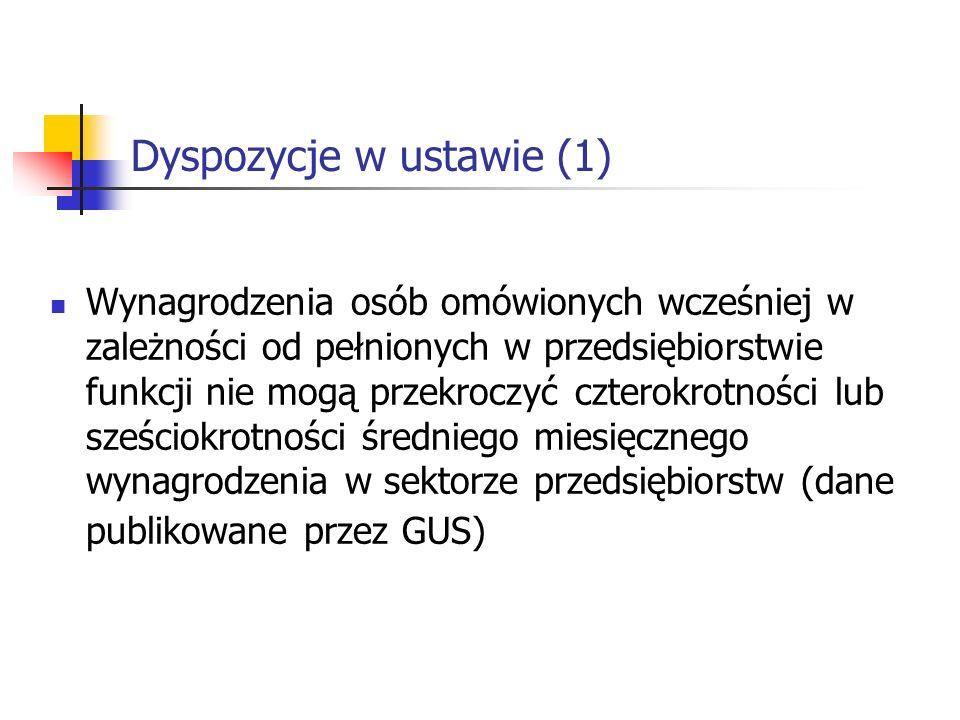Dyspozycje w ustawie (1)