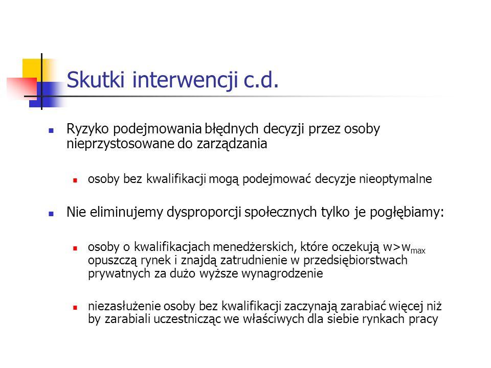 Skutki interwencji c.d. Ryzyko podejmowania błędnych decyzji przez osoby nieprzystosowane do zarządzania.