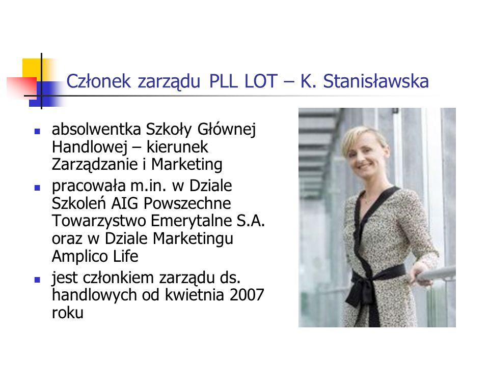 Członek zarządu PLL LOT – K. Stanisławska