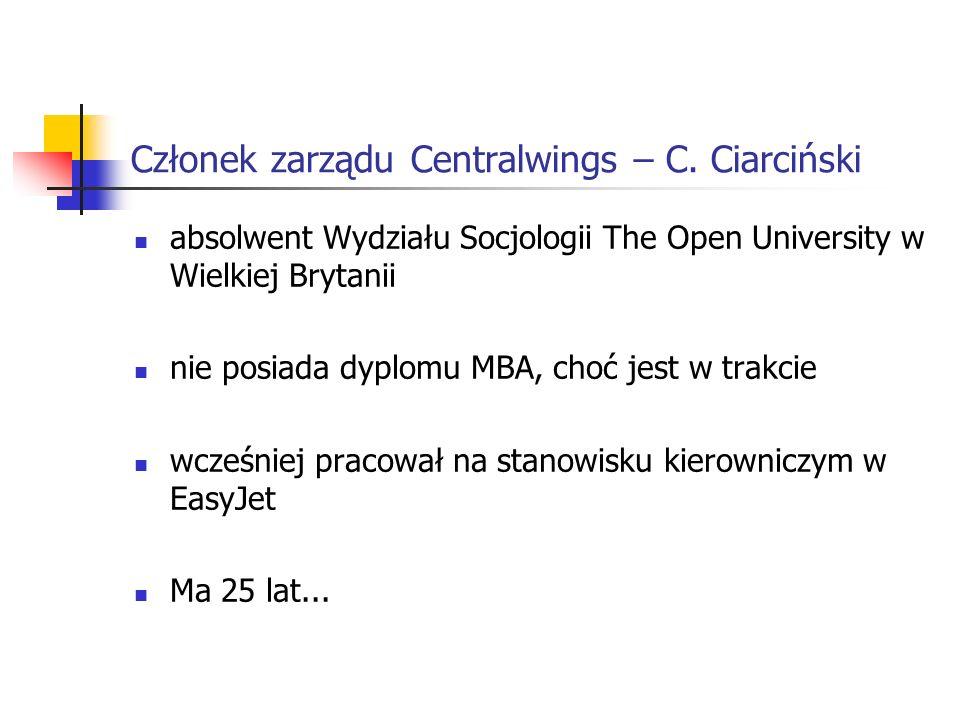 Członek zarządu Centralwings – C. Ciarciński