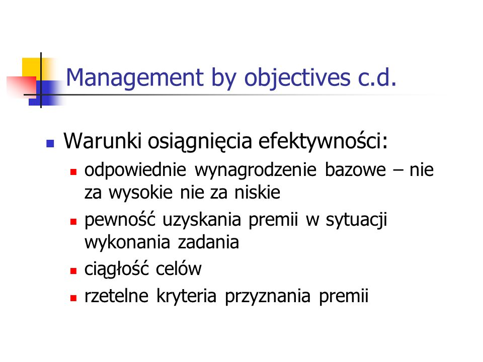 Management by objectives c.d.