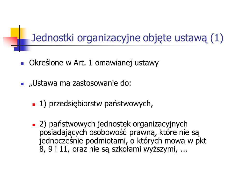 Jednostki organizacyjne objęte ustawą (1)