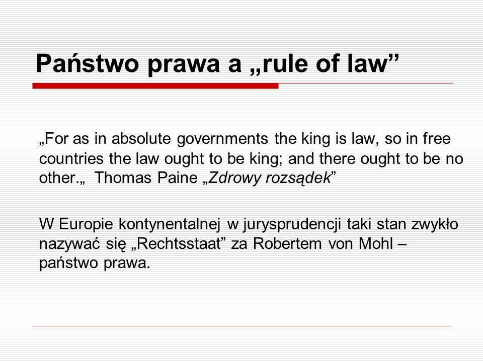"Państwo prawa a ""rule of law"