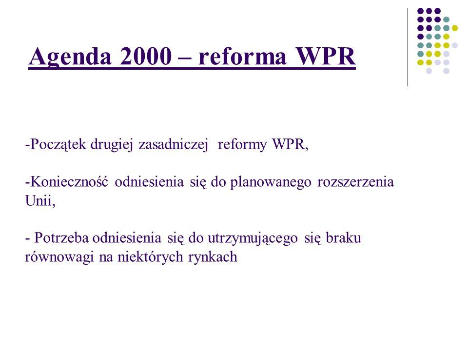 Agenda 2000 – reforma WPR Początek drugiej zasadniczej reformy WPR,