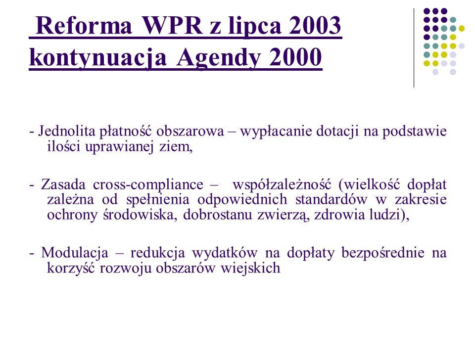 Reforma WPR z lipca 2003 kontynuacja Agendy 2000