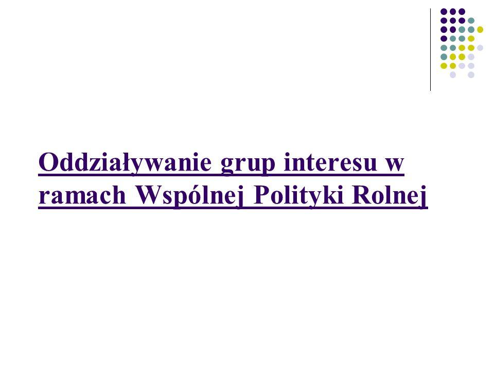 Oddziaływanie grup interesu w ramach Wspólnej Polityki Rolnej