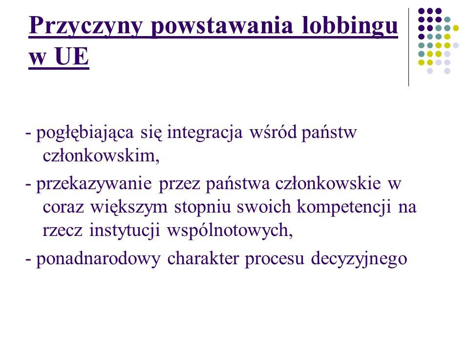 Przyczyny powstawania lobbingu w UE