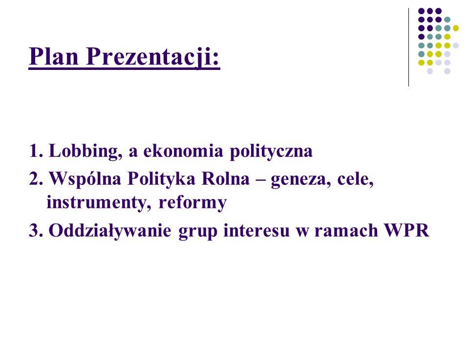 Plan Prezentacji: 1. Lobbing, a ekonomia polityczna
