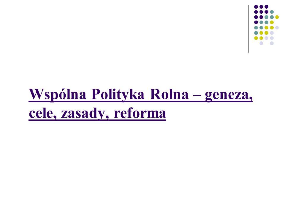 Wspólna Polityka Rolna – geneza, cele, zasady, reforma