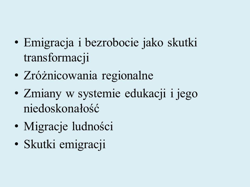 Emigracja i bezrobocie jako skutki transformacji